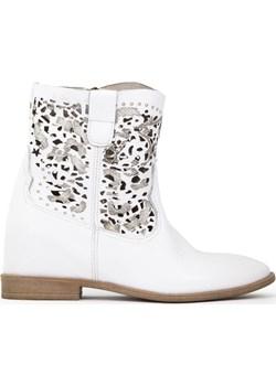 Białe ażurowe botki z ukrytą koturną Lewski Lewski shoes - kod rabatowy