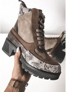 BOTKI TRAPERY BRĄZOWE WĘŻOWY WZÓR TOLEDO Fashion Manufacturer  wyprzedaż SHOPAHOLIC`S DREAM  - kod rabatowy
