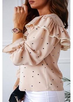 Bluzka z falbaną Bridget Dots beżowa w groszki Shopaholics Dream  SHOPAHOLIC`S DREAM - kod rabatowy