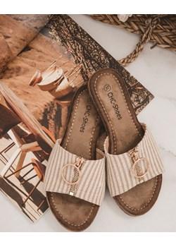 Klapki beżowe ze złotym zamkiem Fabulous  Shopaholics Dream SHOPAHOLIC`S DREAM - kod rabatowy