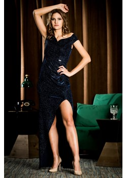 Długa sukienka wieczorowa Shakira - granat - BB Studio B&b Studio promocyjna cena B&B Studio - kod rabatowy