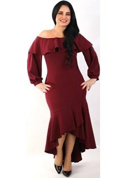 Sukienka Hiszpanka, bordowa   wyprzedaż Oscar Fashion  - kod rabatowy