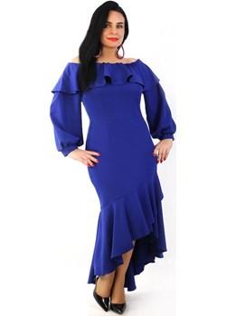 Sukienka Hiszpanka, chabrowa   promocyjna cena Oscar Fashion  - kod rabatowy