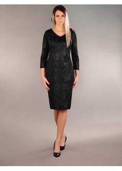 Sukienka Rita, elastyczna z połyskiem czarna, czarny brokat   Oscar Fashion - kod rabatowy