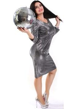 Srebrna sukienka Bling Plus Size   Oscar Fashion - kod rabatowy