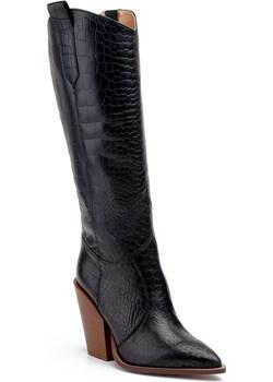 Czarne kozaki damskie Marco 1373K kowbojki ze skórą gadzią  Marco Shoes Milandi - kod rabatowy