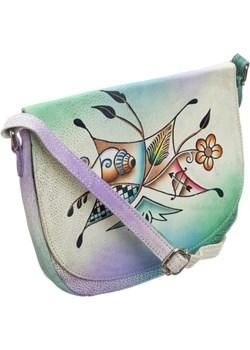 Piękna torebka folk ręcznie malowana skóra handmade torebki-skorzane.pl okazja - kod rabatowy