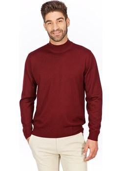 Sweter półgolf wysoki bordowy - regular  Lanieri Lanieri.pl - kod rabatowy