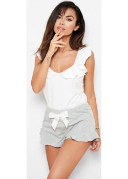 Piżama damska Bella - bawełniana z białą koszulką z falbankami  Bohomoss  - kod rabatowy