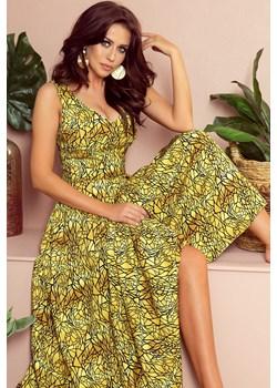 246-2 CINDY długa suknia z dekoltem - ZŁOTY + CZARNY Numoco  Preciosa - kod rabatowy