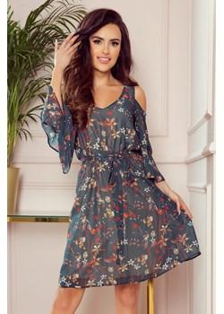 292-2 MARINA zwiewna sukienka z dekoltem - ZIELONA W KWIATY  Numoco Preciosa - kod rabatowy