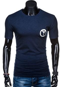 T-shirt męski z nadrukiem 1316S - granatowy Edoti.com   - kod rabatowy