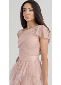 Sukienka z siatki i koronkowym paskiem Pudrowy Róż   Butik Ecru - kod rabatowy