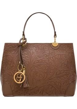 Damska skórzana torebka do ręki Glamorous by GLAM - brązowy  Glamorous By Glam Glamadise.pl - kod rabatowy