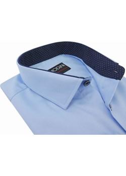 Błękitna/niebieska koszula męska z granatowymi kontrastami w kropki Y06  Modini  wyprzedaż  - kod rabatowy