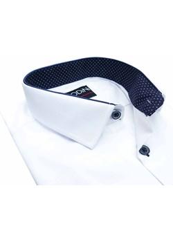 Biała koszula męska z granatowymi kontrastami w kropki Y01 Modini Moda Męska  wyprzedaż Modini  - kod rabatowy