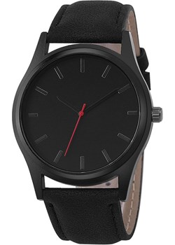 Zegarek MĘSKI CZARNY matowy skóra. SIMPLE No Logo iloko.pl - kod rabatowy