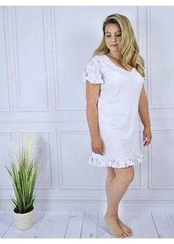 Biała, bawełniana koszulka nocna z falbanką, Lilia  Equlik eQulik - bielizna nocna - kod rabatowy