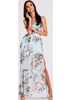 Błękitna sukienka maxi w kwiaty 0209  Numoco Preciosa - kod rabatowy