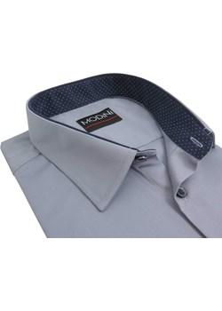 Szara koszula męska z granatowymi kontrastami w kropki Y13 Modini   promocja  - kod rabatowy