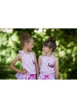 Letnia bawełaniana sukienka dla dziewczynki w delikatną różową kratę - wiązana na szyi od MałaMi  Małami okazyjna cena mini-elegancja.eu  - kod rabatowy