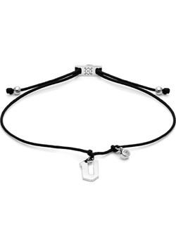 Bransoletka sznurkowa E. JAK EMOCJE srebrna z literą V Ania Kruk  okazyjna cena   - kod rabatowy