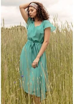 Letnia turkusowa sukienka midi 40 Far Far Łódź   - kod rabatowy