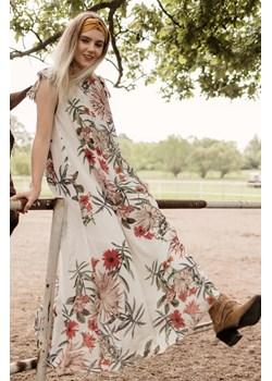 Rozkloszowana sukienka boho maxi w kwiaty 38 Far Far Łódź   - kod rabatowy