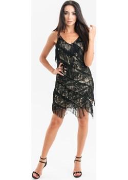 Sukienka cekinowa z frędzlami Czarno-Złota Butik Ecru - kod rabatowy
