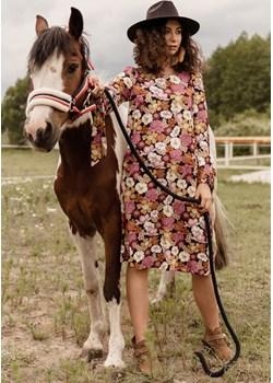 Sukienka w kwiaty z długim rękawem 48 Far Far Łódź wyprzedaż FAR FAR ŁÓDŹ - kod rabatowy