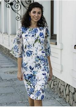 Elegancka sukienka w kwiaty z efektownym rękawem 36  Far Far Łódź  - kod rabatowy