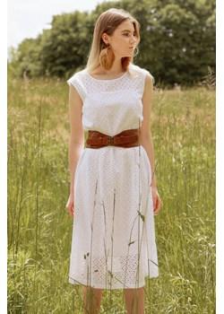 Letnia biała sukienka midi z pasem 36 Far Far Łódź   - kod rabatowy