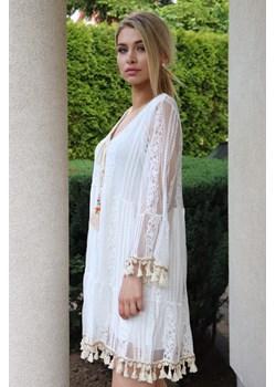 Sukienka damska BOHEMIAN - biały ALLEMODA - kod rabatowy