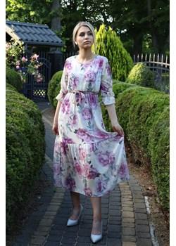 Sukienka damska PEONY - beżowy ALLEMODA - kod rabatowy