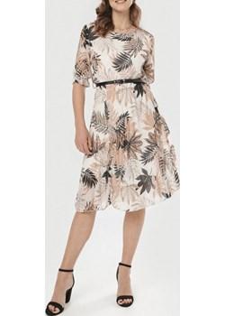 Sukienka damska LEAF - beżowy ALLEMODA - kod rabatowy