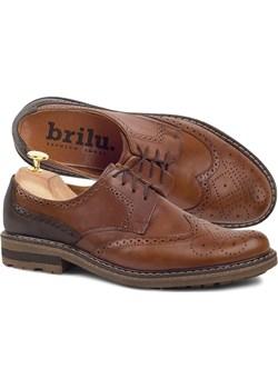 Skórzane buty wizytowe brogsy Sean brązowe Brilu  okazja brilu.pl  - kod rabatowy