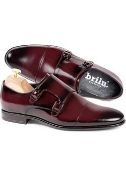 Buty męskie wizytowe skórzane monki Ignacio bordowe Brilu  wyprzedaż brilu.pl  - kod rabatowy