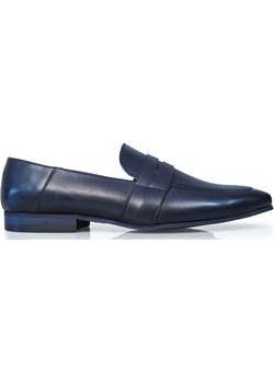 Granatowe wsuwane buty męskie - penny loafers T125 wyprzedaż Modini - kod rabatowy