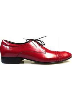 Czerwone buty męskie wizytowe Faber - Obuwie Męskie czerwony wyprzedaż Modini  - kod rabatowy