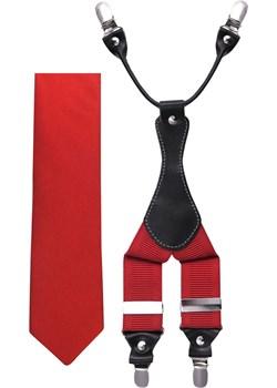 Czerwony zestaw - szelki i krawat Z23 Modini Moda Męska Modini - kod rabatowy
