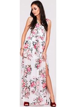 Biała sukienka maxi w kwiaty 0209 Roco okazja Preciosa - kod rabatowy