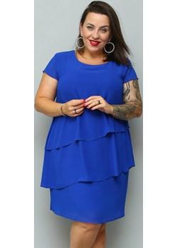 Sukienka trapezowa MARTA szyfonowa z falbankami kobaltowa   karko.pl - kod rabatowy