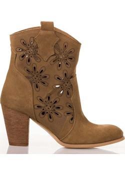 Camelowe botki w ażurowe kwiatki Lewski Lewski shoes - kod rabatowy