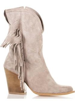 Beżowe długie botki kowbojki Lewski Lewski shoes - kod rabatowy