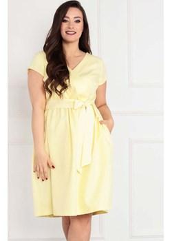 Sukienka kopertowa rozkloszowana plus size COCO letnia żółta   karko.pl - kod rabatowy