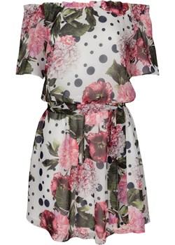 Sukienka wizytowa hiszpanka szyfonowa SABINA ecru w kwiaty Grandio grandio - kod rabatowy