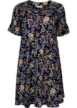 Sukienka rozkloszowana AMEBA ozdobna falbanka na rękawie granatowa w żółto-niebieskie kwiaty Grandio grandio - kod rabatowy