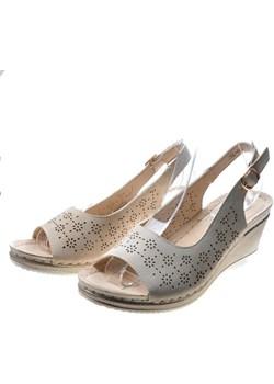 Sandały damskie na koturnie Beige /A4-2 4912  S492/ Pantofelek24 pantofelek24.pl promocyjna cena - kod rabatowy