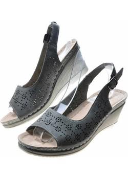Sandały damskie na koturnie DARK GREY /A4-2 4912  S492/ Pantofelek24 okazja pantofelek24.pl - kod rabatowy