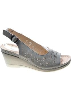 Sandały damskie na koturnie LIGHT GREY /A4-2 4912  S492/ Pantofelek24 promocja pantofelek24.pl - kod rabatowy